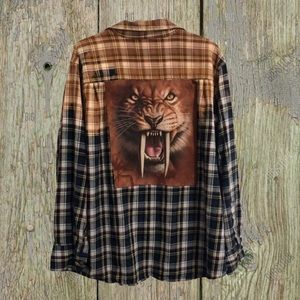 """Custom """"Lion"""" distressed, bleached flannel."""